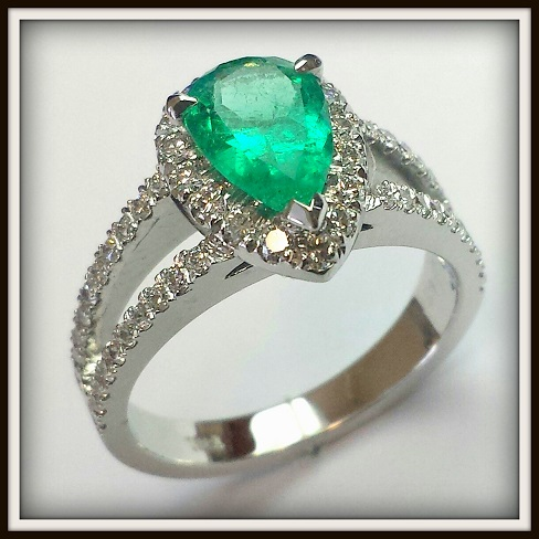 Pear Shape Emerald and Diamond ring