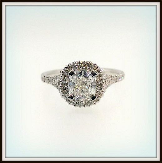 Cushion Cut Diamond Ring Halo