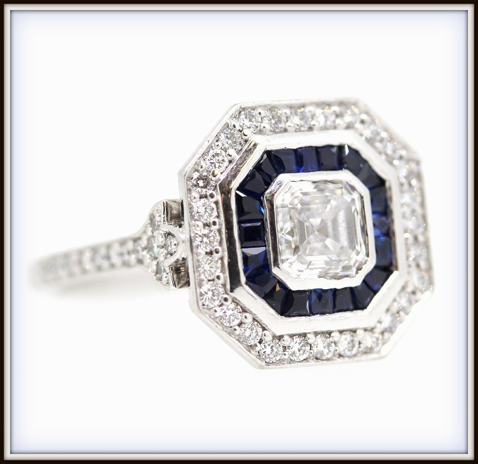 Antique Art Deco Inspired Asscher Sapphire Diamond Engagement Ring Custom