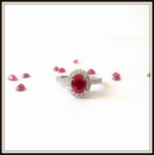 Bumese Ruby Diamond Engagement Ring 18ct White Gold Custom