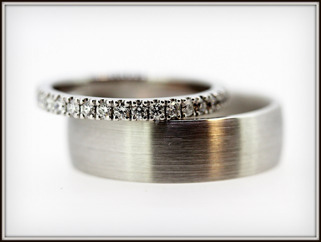 Diamond Wedding Ring Gents Matte Finished Ring 18ct White Gold 1