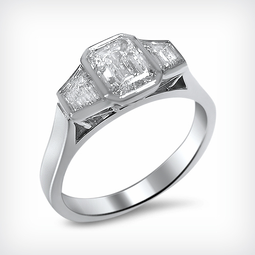 E Colour Internally Flawless Emerald Cut Diamond Trapezoid Diamonds 18ct White Gold Engagement Ring 1