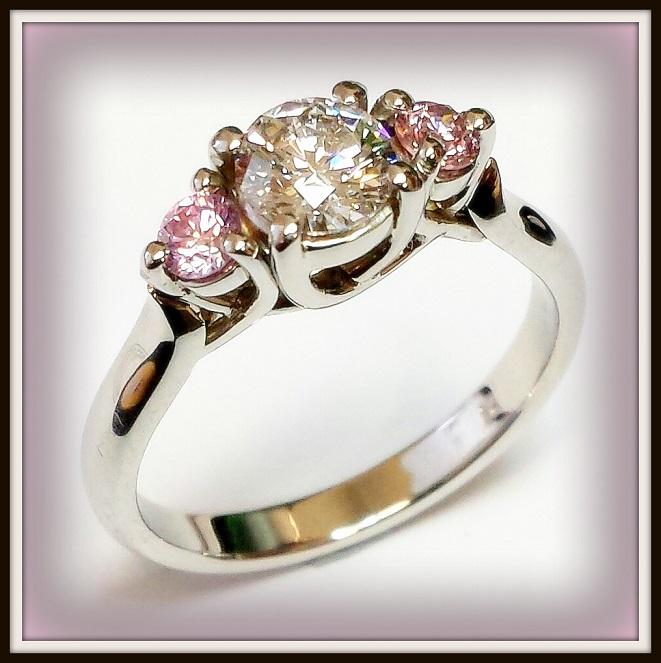 Pink Argyle D Internally Flawless Diamond Platinum Handmade Ring