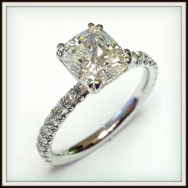 Platinum Engagement 1.84ct Cushion Cut Diamond Custom