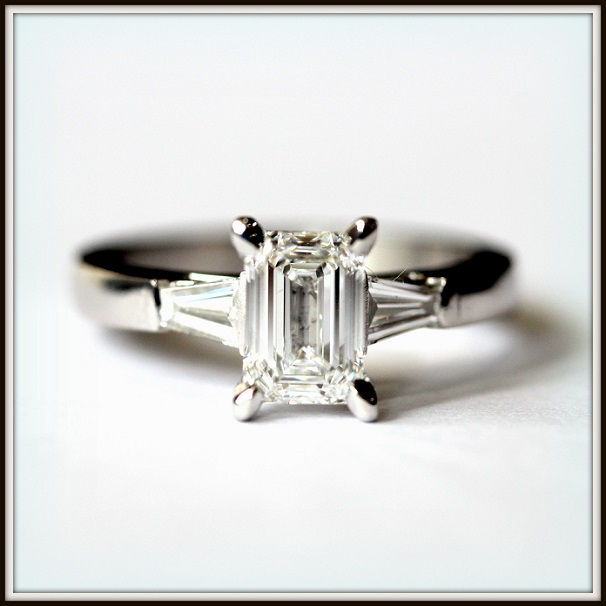 1ct D VVS1 Emerald Cut Diamond Baguette Cut Custom Engagement Ring