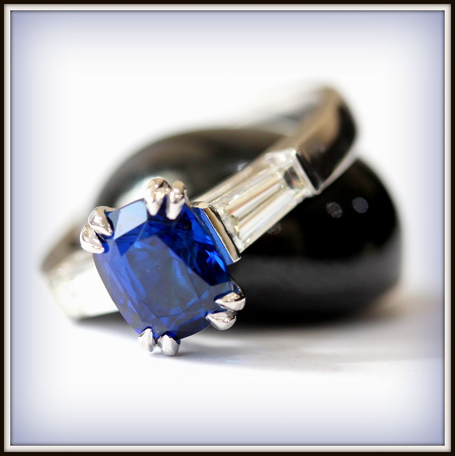 2.64ct Cushion Cut Ceylon Sapphire 18ct White Gold Custom Ring