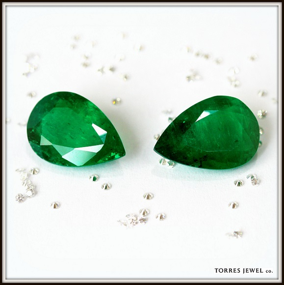 Pear Shape Colombian Emeralds Diamonds Torres Jewel co