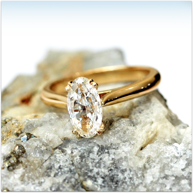 BMRW 83pt Oval Diamond Yellow Gold Engagement Ring Custom