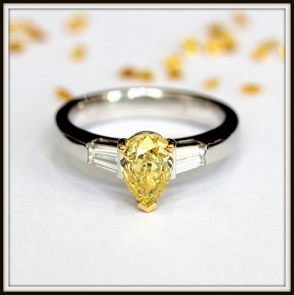 Pear Shape Yellow Diamond Engagement Ring Custom
