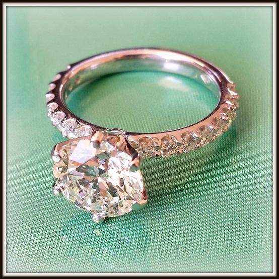 2.52ct RBC Diamond Custom Platinum Diamond Engagement Ring Torres Jewel co 4
