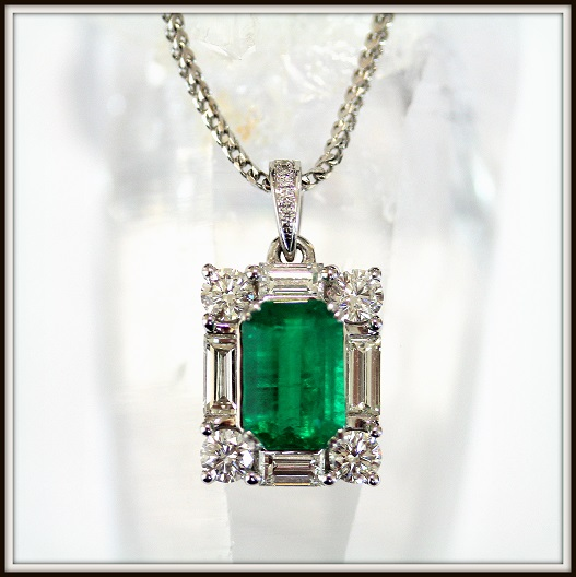 Natural Colombian Emerald Baguette Brilliant Cut Diamond Pendant Custom Jewellery Torres Jewel co