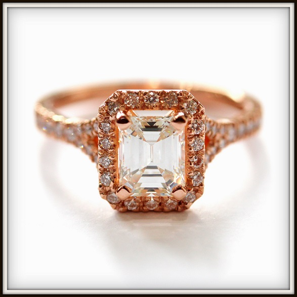 1.2ct Emerald Cut Diamond Custom Rose Gold Engagement Ring Torres Jewel co Melbourne 1