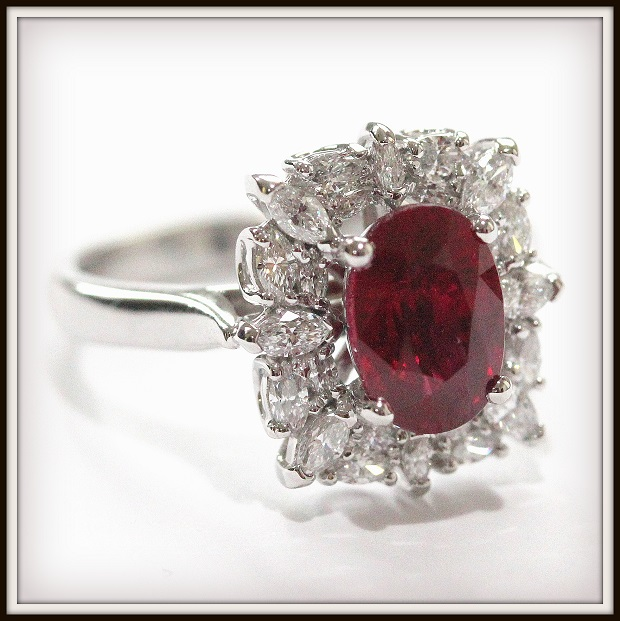 2.22ct Burmese Ruby Marquise Diamonds Custom 18WG Ring Torres Jewel co 1