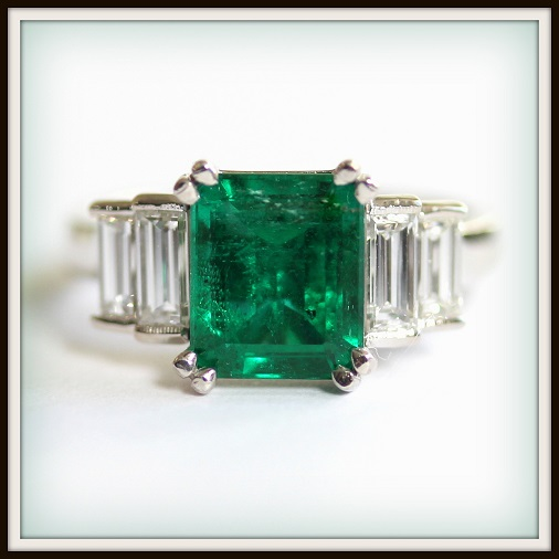 Emerald and Diamond Ring Custom Engagement Ring Torres Jewel co (1)