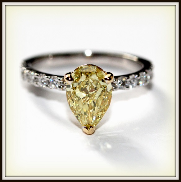 Pear Shape Yellow Diamond Custom Engagement Rings Torres Jewel co 1
