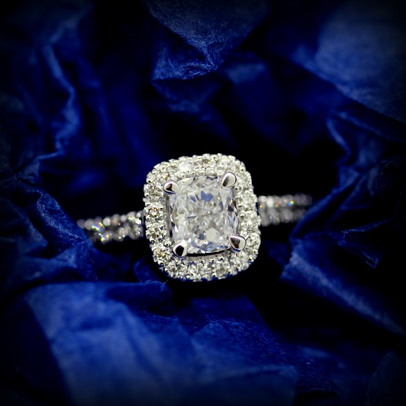 18ct White Gold Cushion Cut Diamond in a raised four calw setting with a halo of Round Brilliant Cut Diamonds.  Torres Jewel Co 2