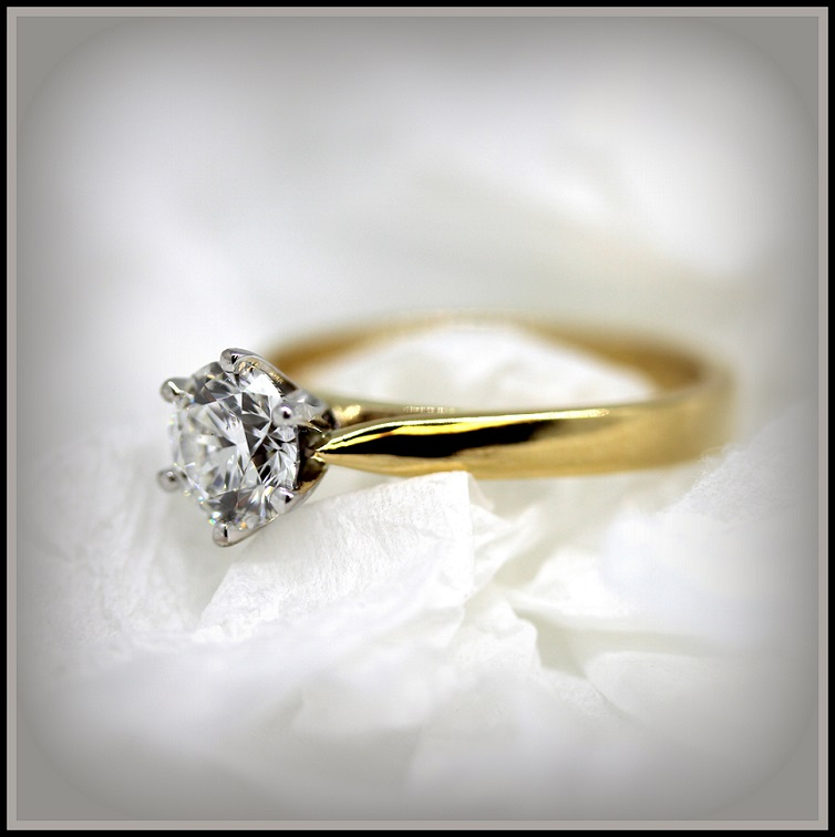 18ct Yellow and White Gold Solitaire Diamond set ring 18ct White Gold Torres Jewel Co