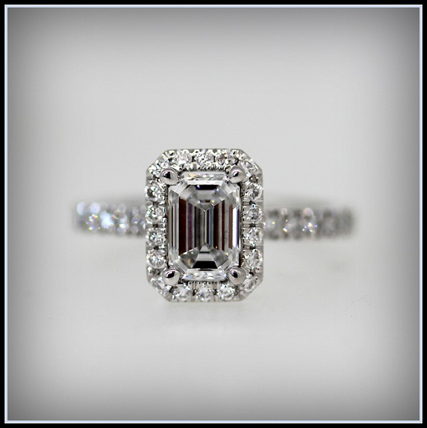 Emerald Cut Diamond in 18ct White Gold with Diamond halo and Shoulders Torres Jewel Co (1)