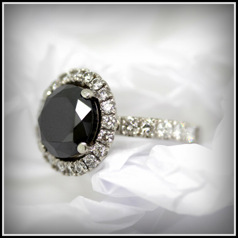 Platinum Round Cut Natural Black Diamond with Round Brilliant Cut Diamond Halo Torres Jewel Co