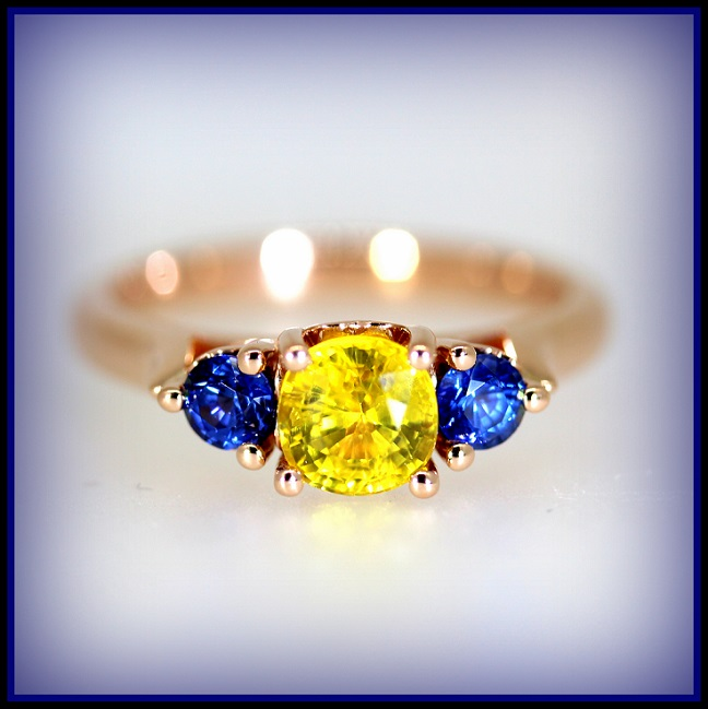 Torres Jewel Co 18ct Rose Gold Yellow and Blue Sapphire set ring