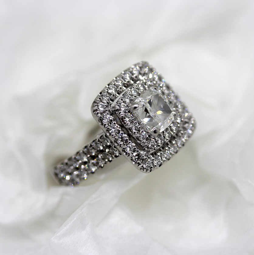 Torres Jewel Co Cushion Cut Double Halo Diamond set Double row band 18ct White Gold
