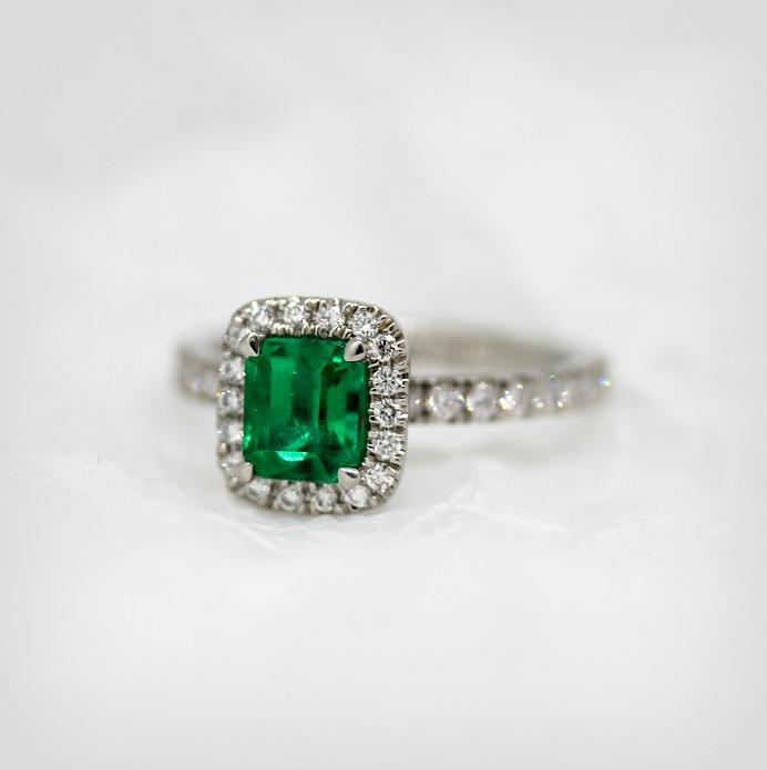 18ct White Gold Diamond and Natural Colombian Emerald Cut Emerald set ring Torres Jewel Co