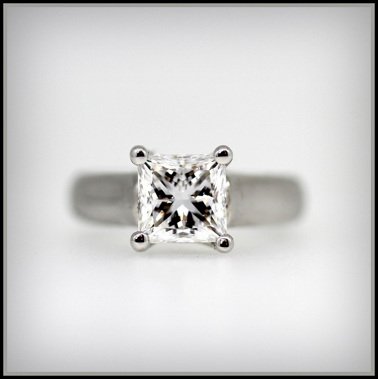 18ct White gold Princess Cut Diamond Solitaire ring Torres Jewel Co (1)