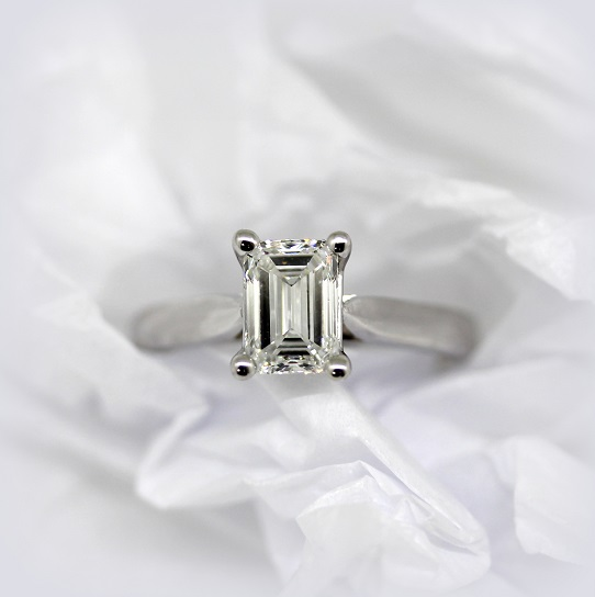 F Color Internally Flawless Emerald Cut Diamond handcrafted in 18ct White Gold Torres Jewel Co